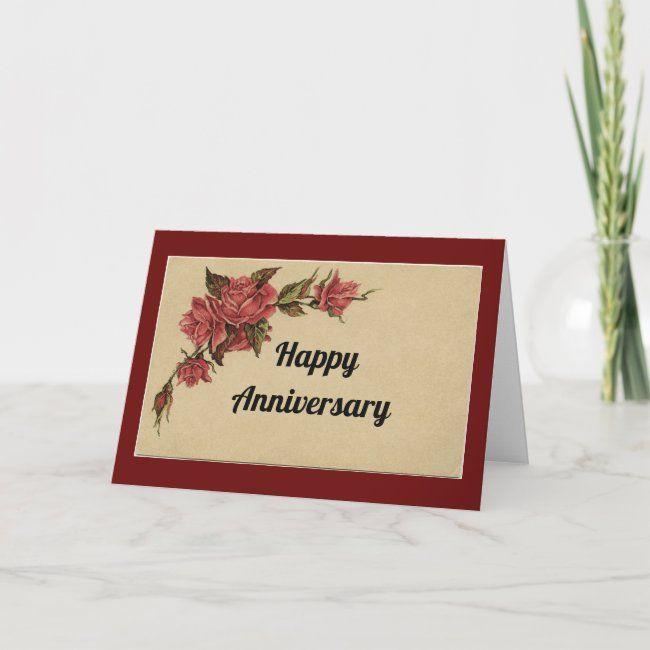 Vintage Roses Anniversary Card Zazzle Com Anniversary Cards Anniversary Greeting Cards Custom Holiday Card