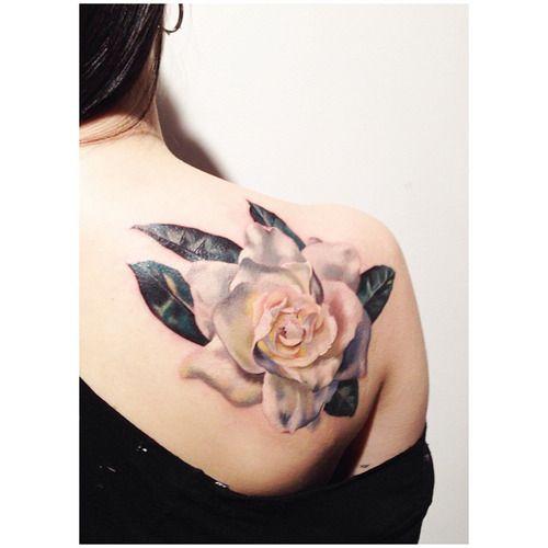 tattoos by amanda wachob; I really like the gardenia, however im not really digging the leaves