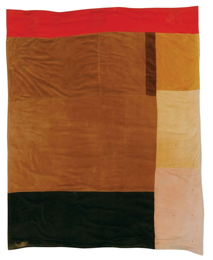China Pettway, born 1952, blocks, corduroy and cotton hopsacking, ca. 1975, 83 x 70 inches from Quilts of Gee's Bend