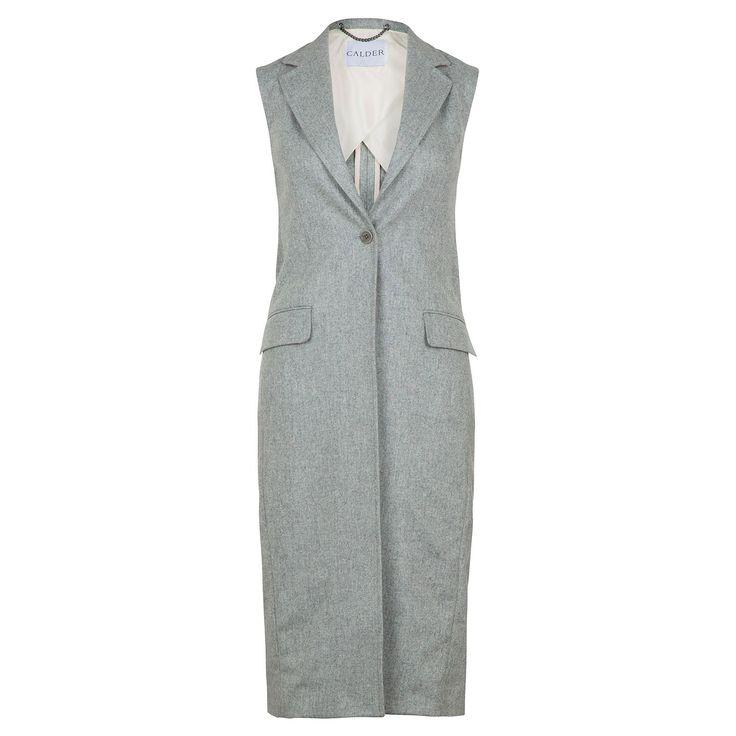 Long Sleeveless Coat in Grey | CALDER | Wolf & Badger