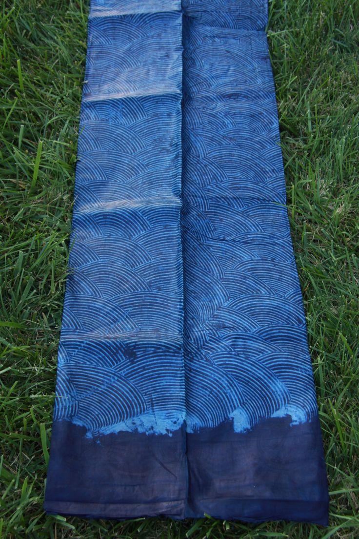 Adire Batik, Indigo Blue Batik Waves, Nigerian African Batik Fabric,