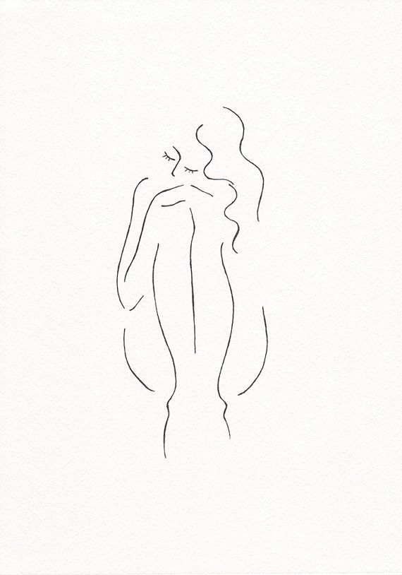 Minimalist nude line art sketch. Original black and white ink drawing by Siret Roots.