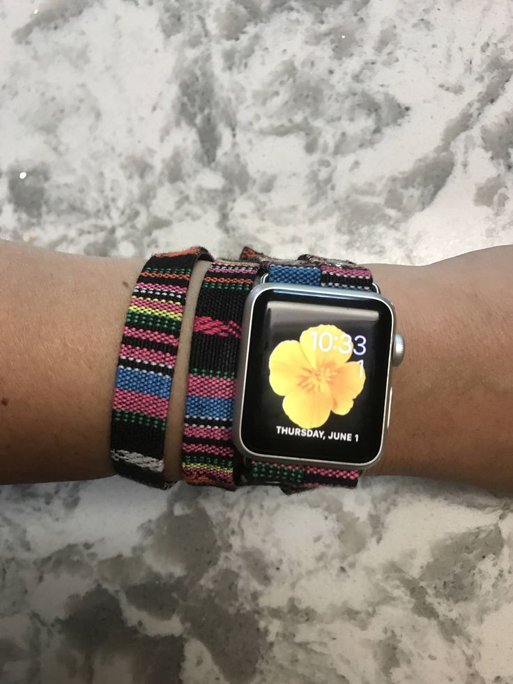 Woven cotton multicolor double tour Apple Watch band with pu leather backing