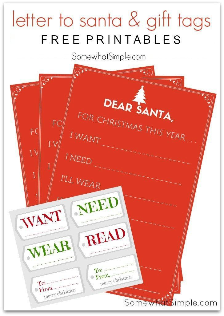 Letters to Santa and Gift Tags -Free Christmas Wish List Printable by Somewhat Simple