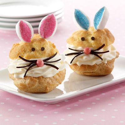 Cute Easter Dessert. Bunny Cream Puffs