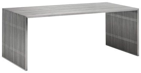 """ZM Home Modern 73"""" Rectangular Brushed Stainless Steel Dining Table"""