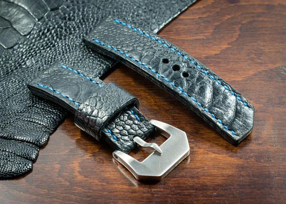 Handmade black Ostrich leg leather watch strap 26 mm made in italy watchstrap leatherstrap leather custom exotic craft strapmaker panerai pam ennebi vintage