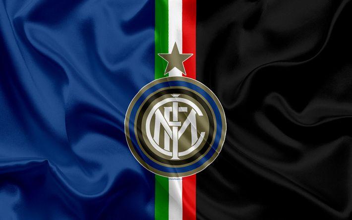 Scarica sfondi Inter, Milan, calcio, Serie A, Italia, emblema dell'Internazionale football club