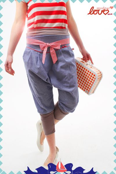 Sausehose`13 Jeans Hell-Rot Weiß gestreift, jeans sarouel pants, summer jeans pants, striped,@mydearlove fashion