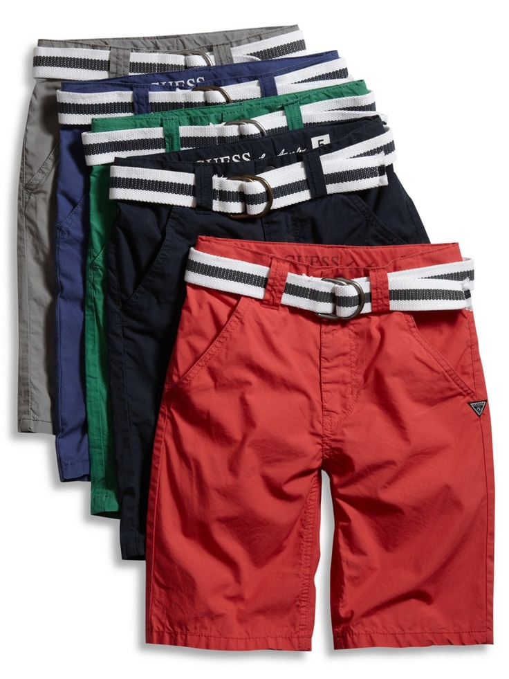 GUESS Kids Boys Big Boy Flat Front Belted Shorts, RED (8)
