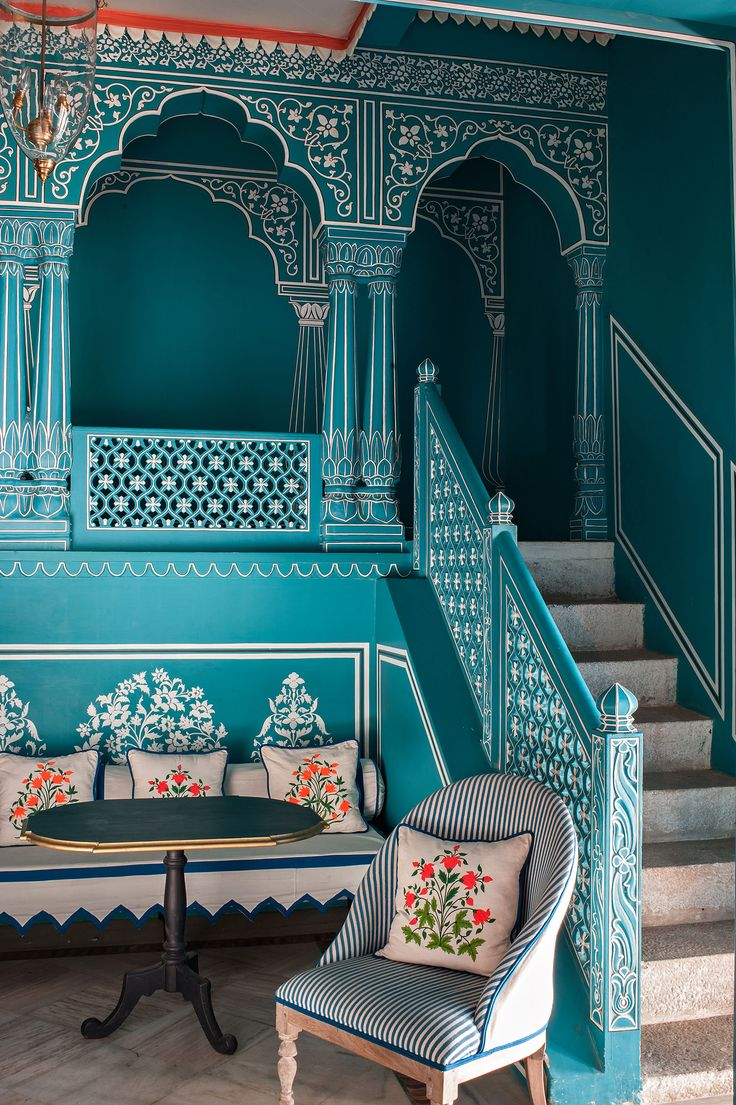 Bar Palladio is a carefully designed European style bar inside one of Jaipur's most historic hotels, the Narain Niwas Palace Hotel. The hotspot's stylish design was created by Marie-Anne Oude
