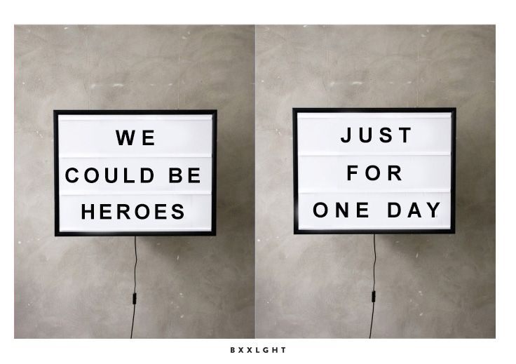 We could be heroes, just for one day lightboxes by Bxxlght. Inspired by the amazing David Bowie. R.I.P.