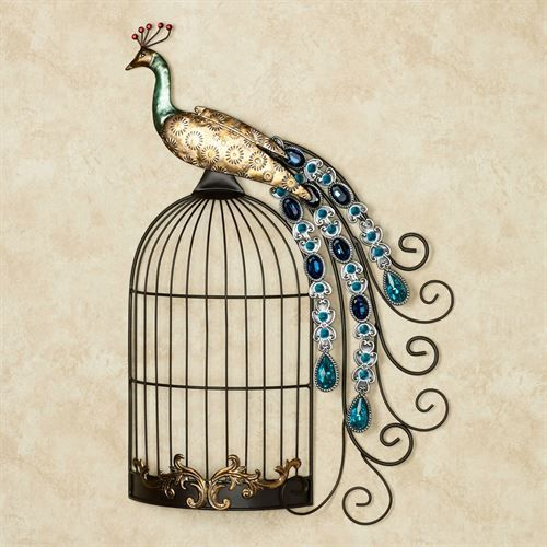 Peacock Jewels on Cage Wall Art Multi Cool