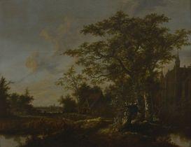 1650 - 1660 Fantasie-landschap met slot Zuylen en stadsprofiel van Rotterdam