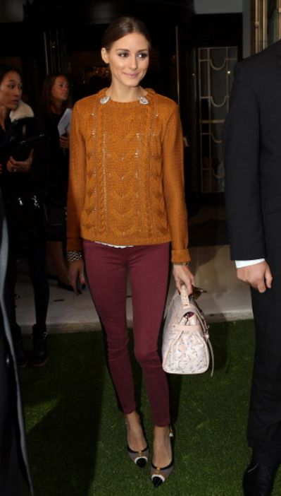 perfect fall colors: maroon pants and a burnt orange sweater. Olivia Palermo,