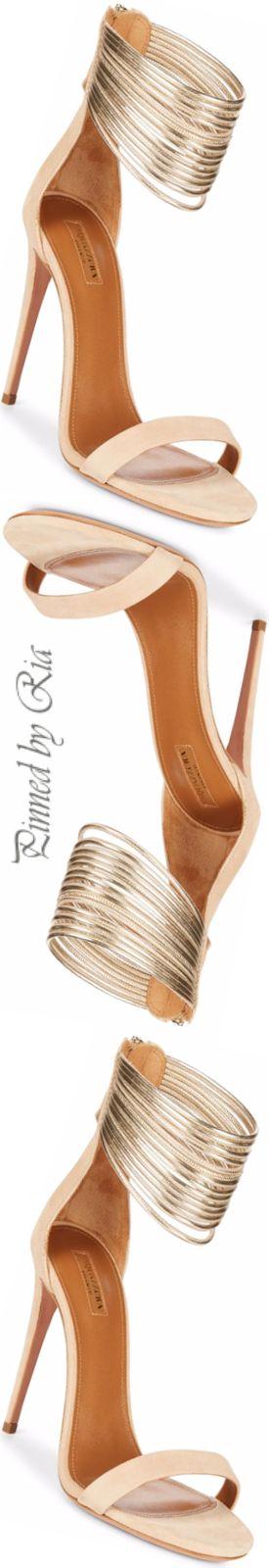 Aquazzura Gold Bangle Ankle Strap Evening Sandal