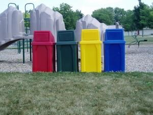 Kolor Can 32 Gallon Indoor Outdoor Trash or Recycling Receptacle $150+$25 liner