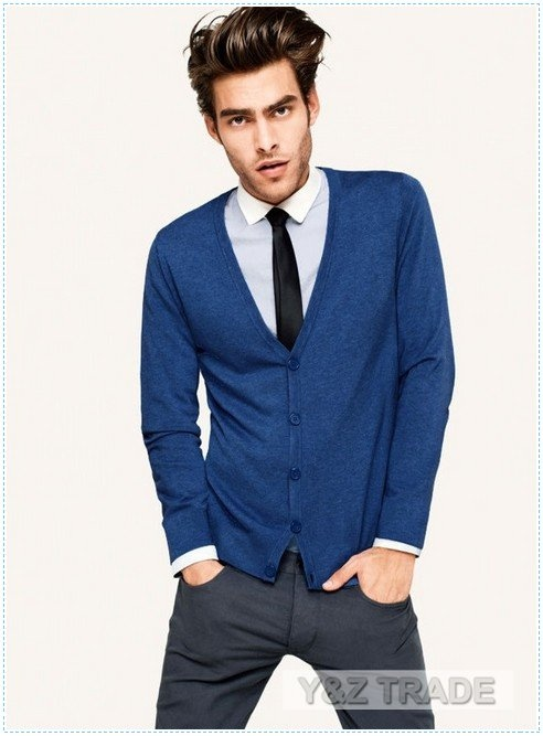 Men's long-sleeved Business cardigan knit shirts #Casual # ...