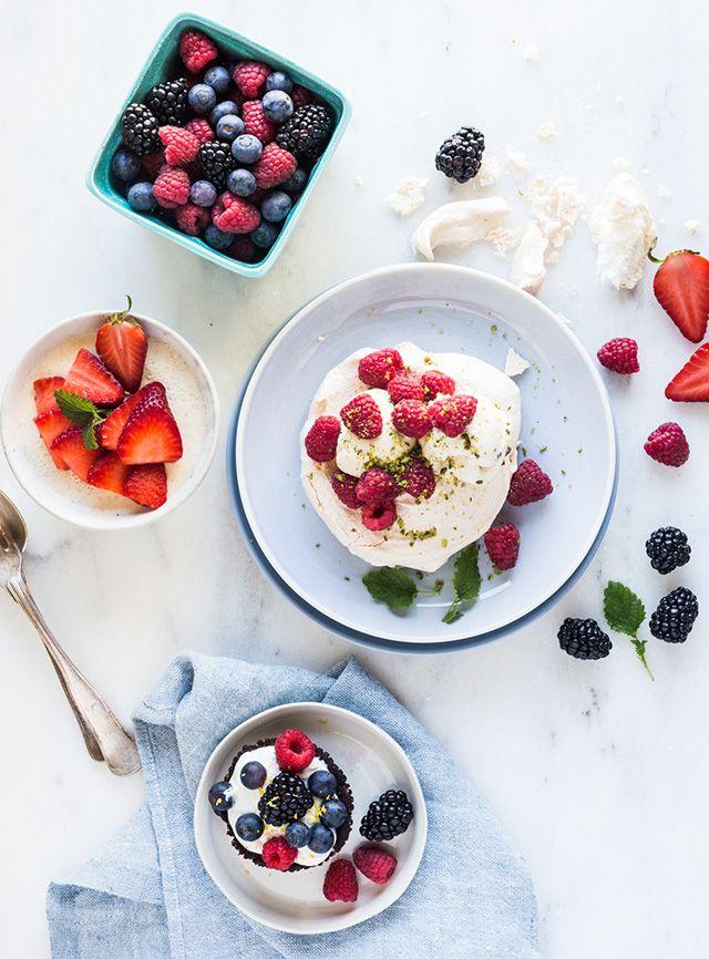 panna cotta with fresh strawberries & berries