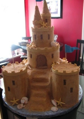 sandcastle cake . . . for the imaginary housewarming party at the imaginary beach house?