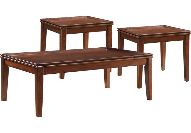 Mariska Brown Cherry 3 Pc Table Set .229.99. Cocktail: 48L x 24W x 16D End: 23L x 22W x 20D. Find affordable Table Sets for your home that will complement the rest of your furniture.  #iSofa #roomstogo