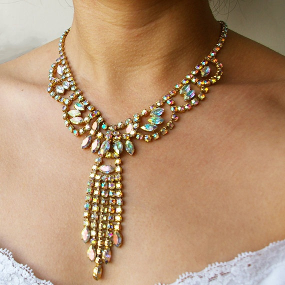 what's old is new again.: Gold Rhinestone, Bridal Necklace