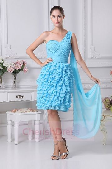 Ball Gown One Shoulder Knee Length Dress with Ruffles