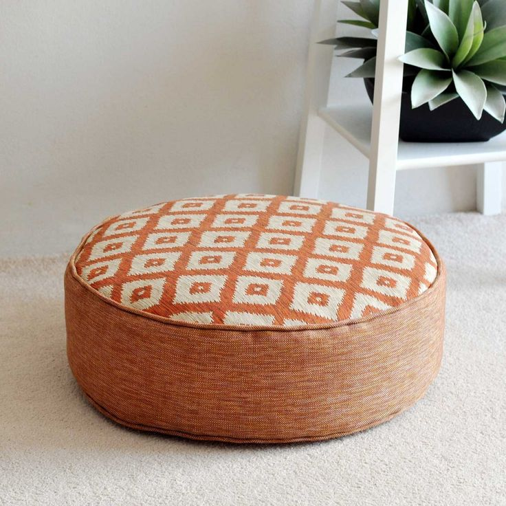 Ubud Tangerine Round Floor Cushion 45cm