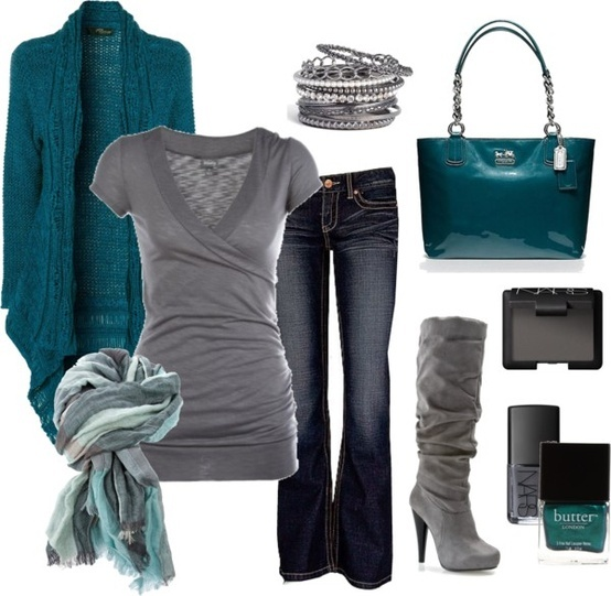 Jeans, grey and teal.......  Different shoes, but love the combo!