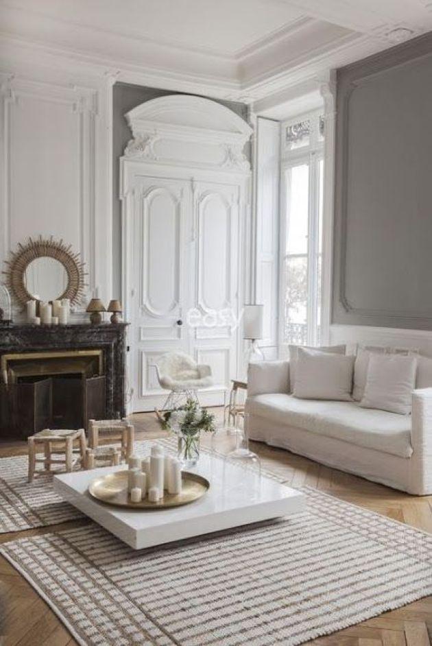 Neutral Parisian Living Room With Light Colored Wood Parquet Floors Parisian Living Room Apartment Interior Contemporary Living Room Design #parisian #living #room #ideas