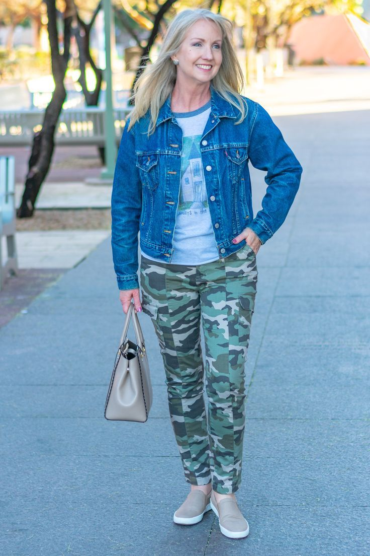 Fresh Casual Look With Camo Pants Graphic T Shirt And Denim Jacket Casual Fashion For Older Women Fashion Casual Fashion Older Women Fashion [ 1104 x 736 Pixel ]