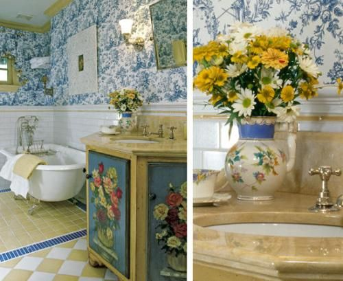 yellow toile wallpaper | Another traditional bedroom is beautiful in yellow on white toile ...