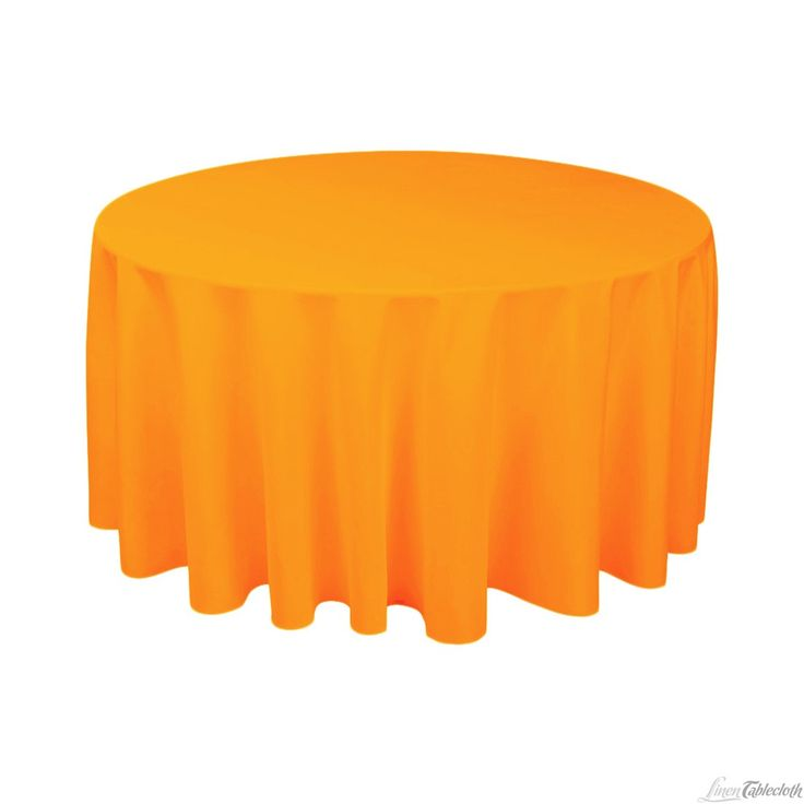 Buy 120 inch round orange tablecloth for weddings at LinenTablecloth! Seamless and machine washable table linens, these wedding tablecloths are perfect for other special events too.