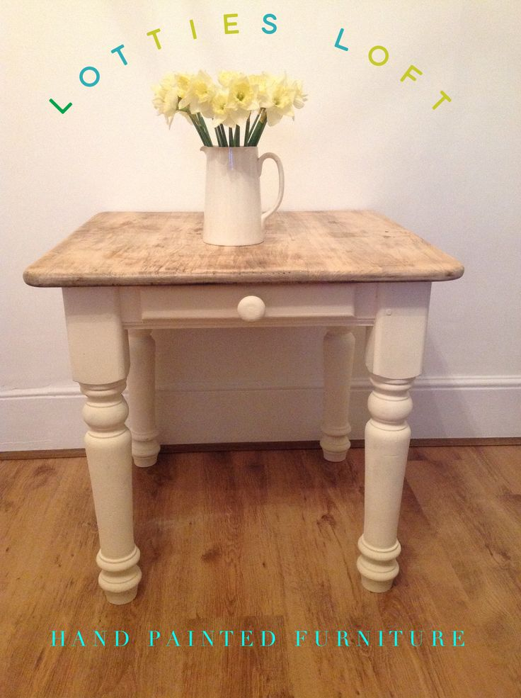 Hand painted oak table. Top has been sanded. Painted by LOTTIES LOFT