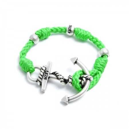 Adjustable Bracelet (up to 22 cm) spheres and anchorto choose between silver or gold. Bracelet Color: Green Made in Italy