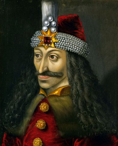 This is a depiction of Vlad the Impaler (Vlad Tepes) who is commonly believed to have served as the original inspiration for Dracula. This is due to his horrific punishments and methods of execution that he had used during his rule. He was the price of Wallachia.