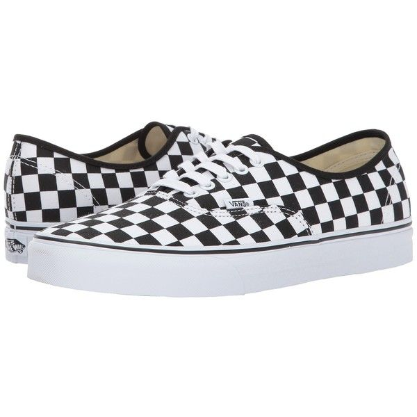 Vans Authentic ((Checkerboard) Black/True White) Skate Shoes ($55) ❤ liked on Polyvore featuring shoes, sneakers, black skate shoes, white shoes, breathable sneakers, white leather sneakers and skate shoes