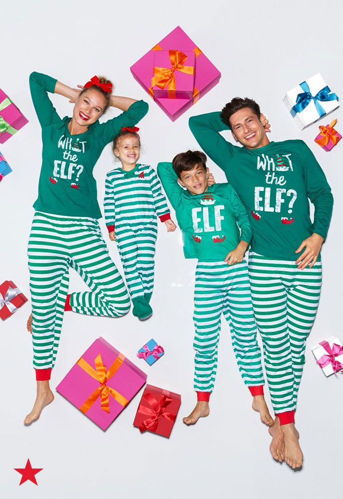 What the elf is going on with these matching pajamas? A whole lot of fun, of course! Click to shop a style for the entire family at Macy's.
