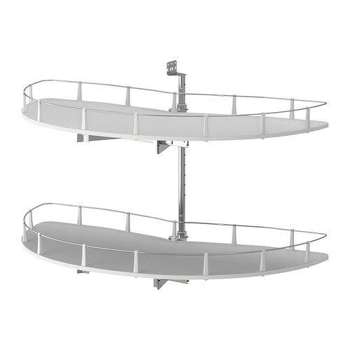 IKEA - UTRUSTA, Wys. mocowanie/szafka stj nar, Bezpłatna gwarancja 25 lat. Warunki gwarancji znajdziesz w broszurze.Maksymalnie wykorzystuje narożną przestrzeń i ułatwia przegląd i dostęp do zawartości szafki dzięki wyciąganej obrotowej części z 2 półkami.Możesz dostosować szafkę do własnych potrzeb, bo półka jest regulowana.Półka z melaminy z odporną na zarysowania powierzchnią, którą łatwo utrzymać w czystości.Idealna do przechowywania garnków, naczyń i suchej żywności.