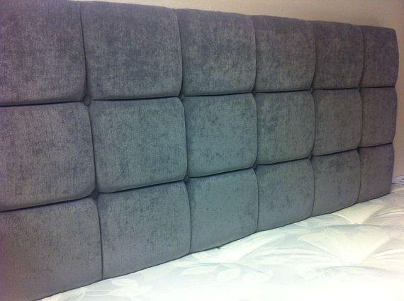 Grey Buttoned 5ft King Size Headboard by Jacobsheadboards on Etsy, £59.00