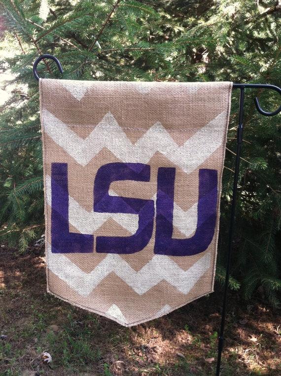 Chevron Burlap Garden Flag with Monogram and by ModernRusticGirl, $20.00