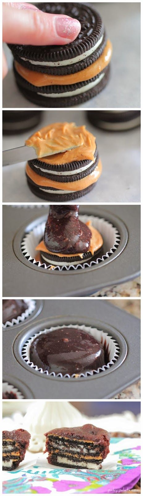 Oreo and Peanut Butter Brownie Cakes Recipe -- maybe try this for a holiday so other people eat it ;)