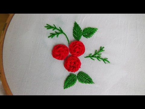 Hand Embroidery: Stem stitch (roses) - YouTube
