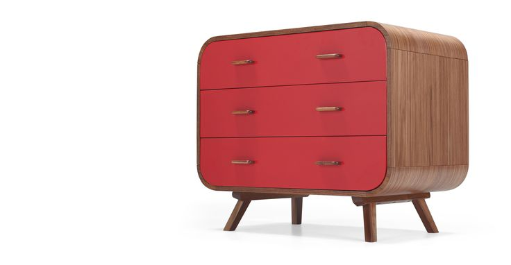 Fonteyn Chest of Drawers, Walnut and Red