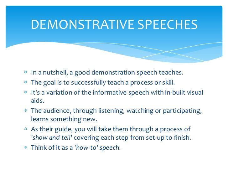 Example of demonstrative speech