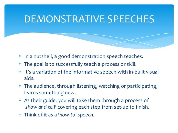 Demonstration Speech Sample Outline
