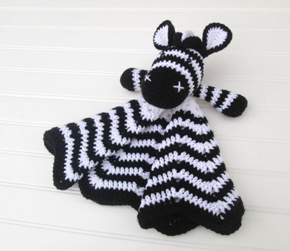 Crochet Black and White Zebra Lovey Security by SugarandSpiceKate