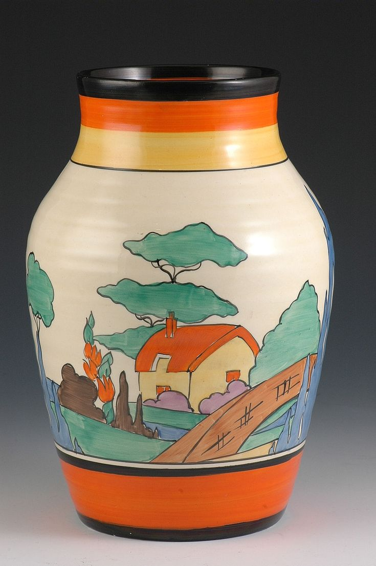 Andrew Muir | Clarice Cliff, Art Deco Pottery, Moorcroft and 20th Century Ceramics DealerOrange roof cottage isis vase