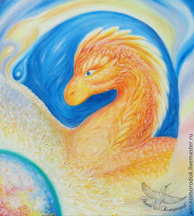 """Купить Картина маслом холст """"Ворота Золотого Дракона"""". Оберег - дракон, защита, волшебство, картина"""