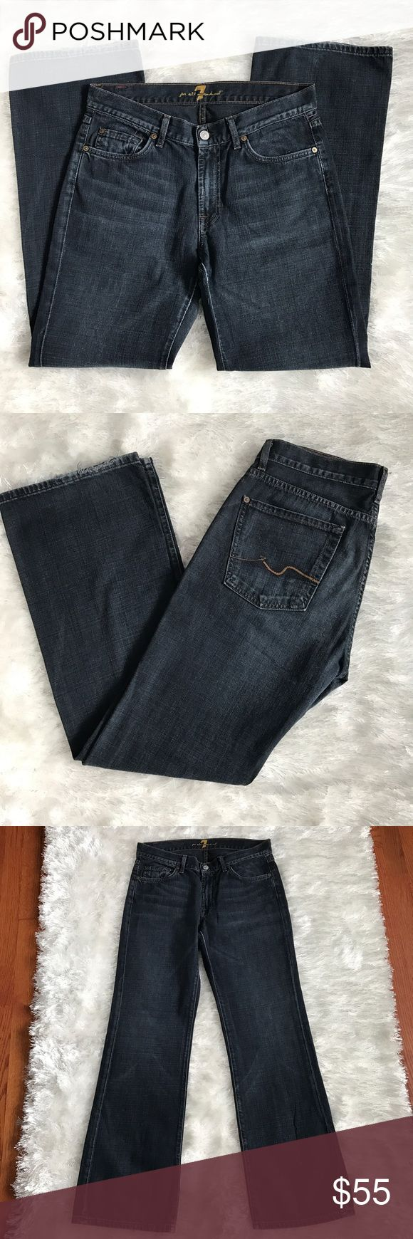 👱🏽 7 FOR ALL MANKIND Bootcut in New York Rinse Men's Bootcut Jeans from 7FAM (Seven). New York rinse is the wash. Inseam approx. 31. 7 For All Mankind Jeans Bootcut